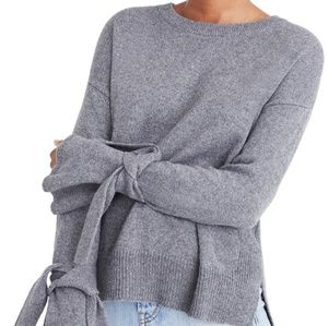 Madewell Grey Bell Tie Sleeve Sweater Pullover